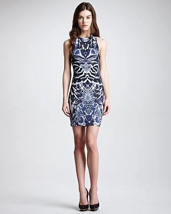 McQ Alexander McQueen Symmetric-Print Racerback Dress, Navy/White