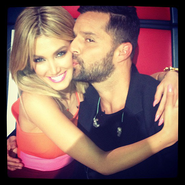 Delta Goodrem and Ricky Martin shared the love on the set of The Voice. Source: Instagram user deltagoodrem