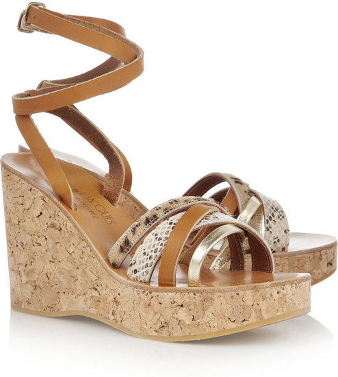 K Jacques St Tropez Patsy leather wedge sandals
