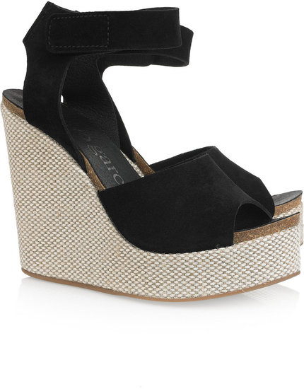 Pedro Garcia Temple suede and canvas wedge sandals