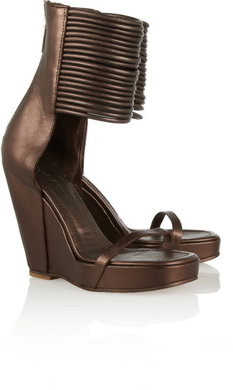 Rick Owens Multi-chord leather wedge sandals