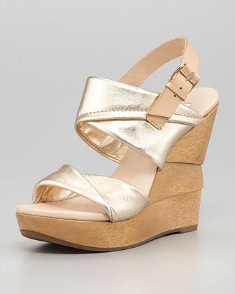 Diane von Furstenberg Ophelia Metallic Wedge Sandal
