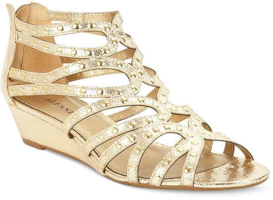 Alfani Women's Shoes, Presley Studded Mid Wedge Sandals