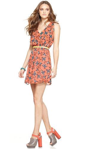 Bar III Dress, Sleeveless V Neck Bird Printed Ruffle A Line