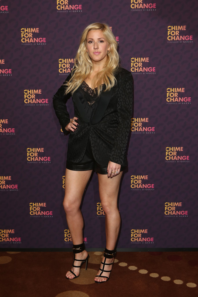 Ellie Goulding's Chime For Change ensemble was pretty, but it was her caged Gucci sandals that took it to sexy heights.