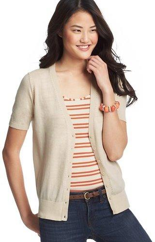 Pointelle Short Sleeve Cotton Cardigan