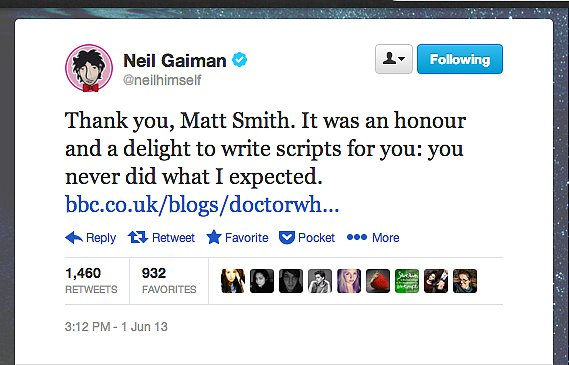 "Author Neil Gaiman, who wrote the Doctor Who episode ""Nightmare in Silver,"" bids farewell to the show's leading man Matt Smith."