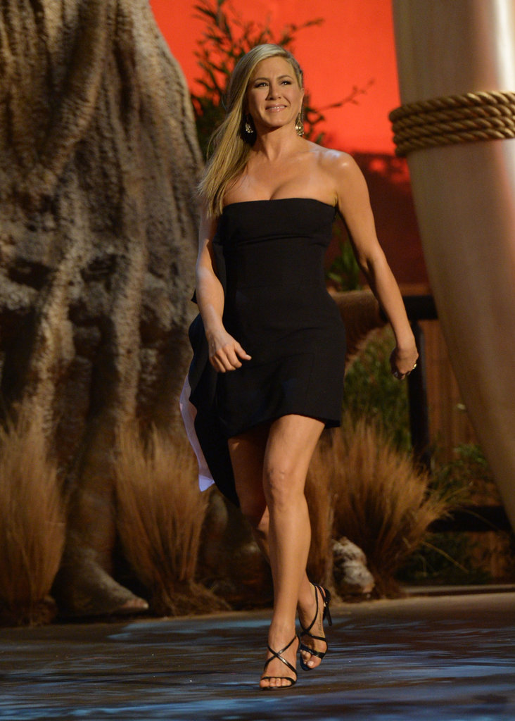 Jennifer Aniston wore a short black dress.