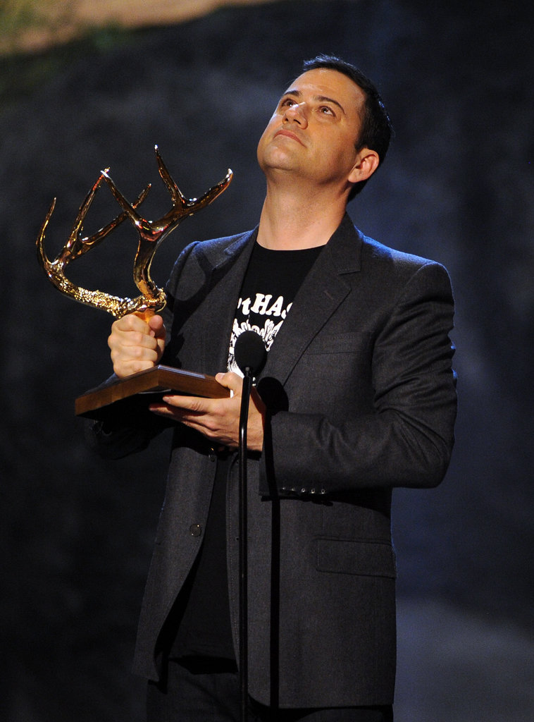Jimmy Kimmel accepted his award on stage.