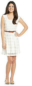 Trixxi® Juniors' White Lace Belted Dress