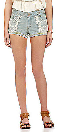 Jolt Lace-Embellished Denim Shorts