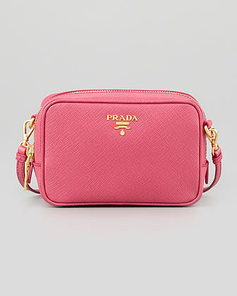 Prada Saffiano Mini Zip Crossbody Bag, Pink