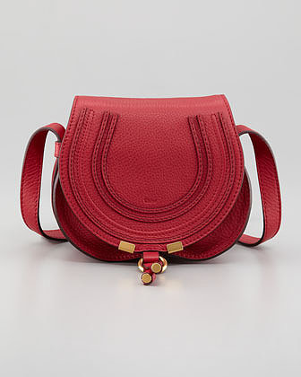 Chloe Marcie Mini Saddle Bag, Peony Red