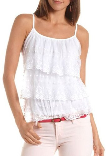 Tiered Lace Ruffle Tank