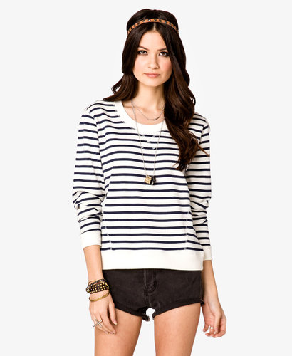 FOREVER 21 Striped French Terry Pullover