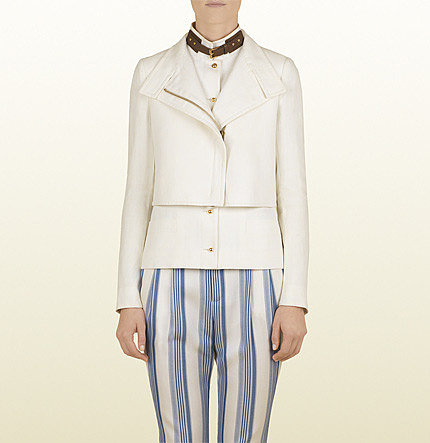 White Canvas Linen Asymmetrical Blouson