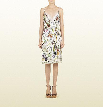 Flora Infinity Print Silk Georgette Side Knot Dress