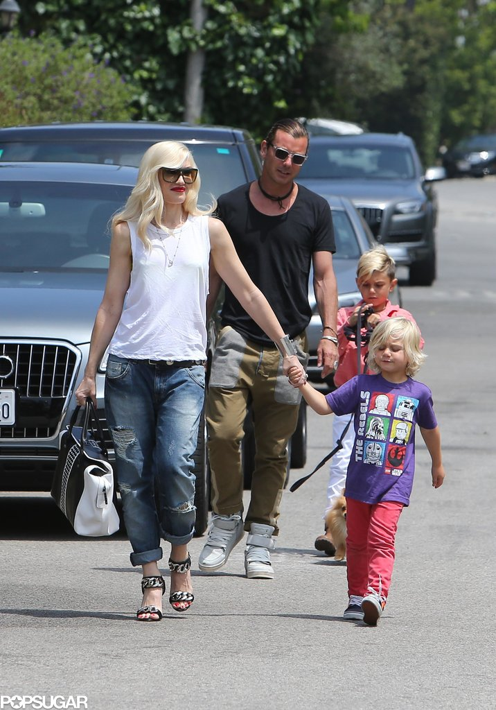 Gwen Stefani and her husband Gavin Rossdale took their sons, Kingston and Zuma, to a birthday party for Jessica Alba's daughter Honor in Beverly Hills on Saturday.