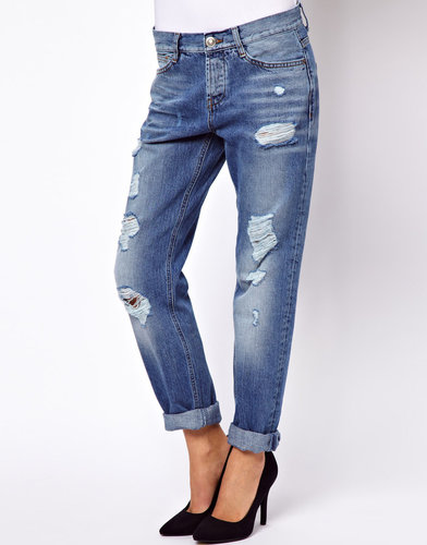ASOS Brady Slim Boyfriend Jeans in Vintage Wash with Rips