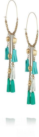 Isabel Marant Bone and leather tassel earrings