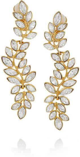 Kenneth Jay Lane Gold-plated Swarovski crystal clip earrings