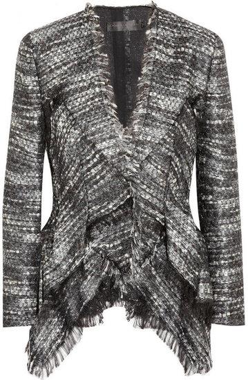 Donna Karan Metallic bouclé peplum jacket