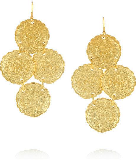 Kenneth Jay Lane Embossed gold-plated earrings