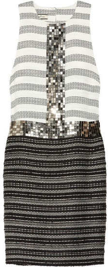 By Malene Birger Rasminel embellished striped tweed dress