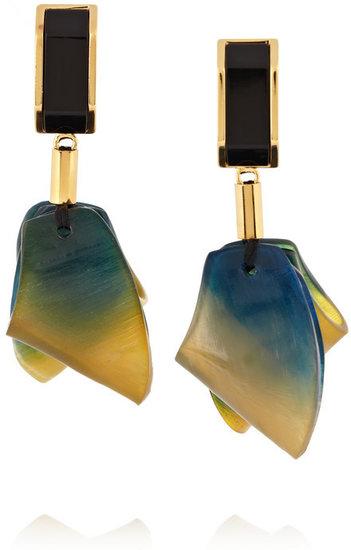 Marni Resin and tie dye-effect horn clip earrings