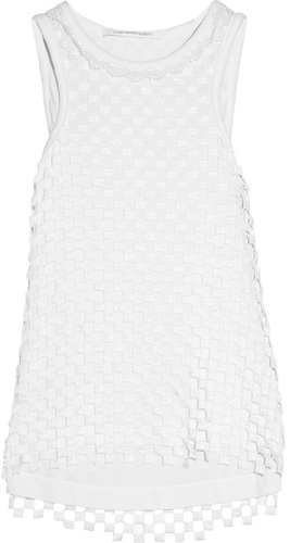 Diane von Furstenberg Mackeda checkered lace and jersey tank
