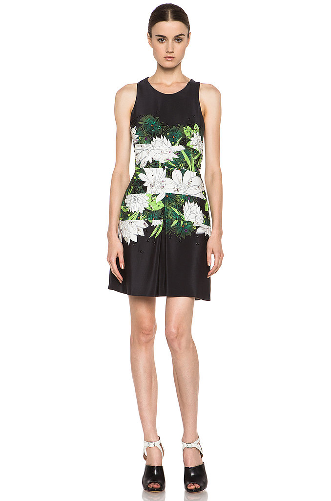 Small, tight florals might be a constant of the outdoor afternoon party. For a cocktail affair, opt for something big and bold like 3.1 Phillip Lim's white-blooms design ($759).