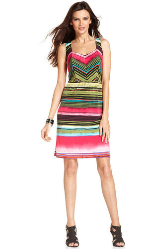 NY Collection Dress, Sleeveless Striped Sheath