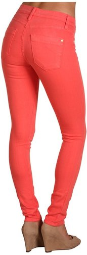 James Jeans - Twiggy Faux Front Pocket Legging in Coral (Coral) - Apparel