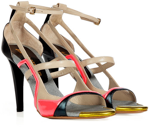 Jil Sander Black-Multi Colorblock Leather Sandals