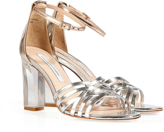 Diane von Furstenberg Silver/Copper Leather Priene Sandals with Clear Heel
