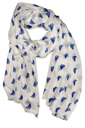 Happy Scarf Sailboat Print Blue