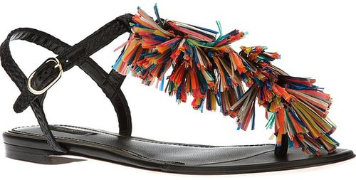 Dolce & Gabbana tassel t-bar sandal