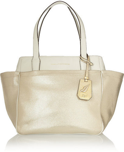Diane von Furstenberg On The Go leather and metallic canvas trapeze bag