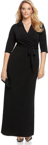 NY Collection Plus Size Dress, Faux Wrap Maxi