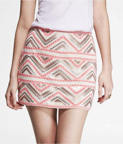 Printed Sequin Embellished Blanket Skirt