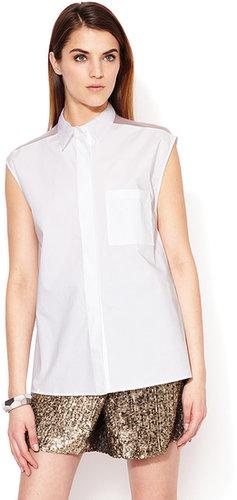 Sleeveless Collared Combo Shirt