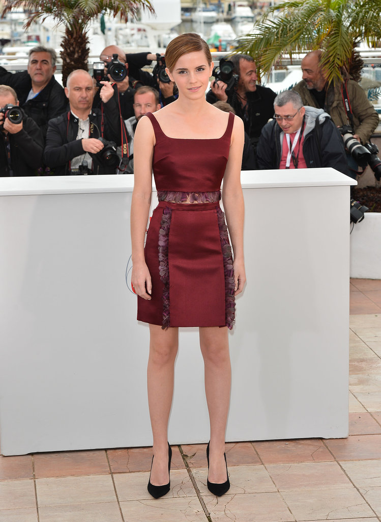 Emma was right on trend in a deep red Christopher Kane crop top and miniskirt at the Bling Ring photocall in Cannes.