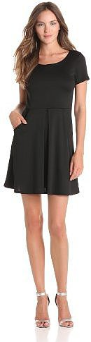 Star Vixen Women's Short Sleeve Ponte Inverted Pleated Dress With Pockets