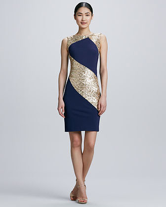 Erin by Erin Fetherston Sequined Ponte Combo Sheath Cocktail Dress