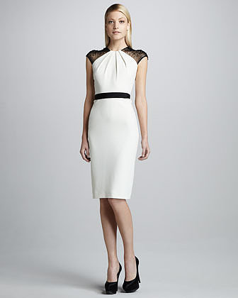 Badgley Mischka Bead-Sleeve Belted Cocktail Dress