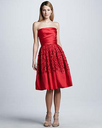 Naeem Khan Strapless Lace-Skirt Cocktail Dress