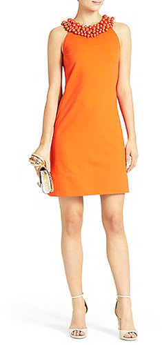 CeeCee Embellished Shift Dress In Blood Orange