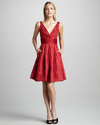 Theia Fit-and-Flare Brocade Cocktail Dress
