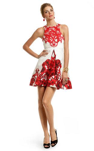 Tibi Red Rococo Print Dress