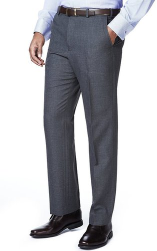 Crease Resistant Active Waistband Flat Front Trousers